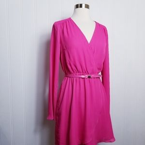 Candie's Faux Wrap Belted Long Sleeve Dress